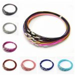 100 strands/lot 1mm Stainless Steel Wire Necklace With Brass Screw Clasp For diy <b>Jewelry</b> <b>Making</b> 17.5″