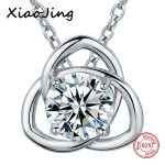 100% 925 sterling silver diy design big Cubic Zirconia pendant chain necklace European fashion <b>jewelry</b> <b>making</b> for women gifts