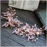 Jonnafe Charming Pink Crystal Bridal Hair Clip Hair Comb For Women Handmade Wedding Accessories Hairpins <b>Jewelry</b>