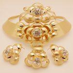Kingdom Ma African Nigerian Wedding Bridal Big Flower <b>Jewelry</b> Sets Dubai Gold Color Beads <b>Necklace</b> Bracelet Earrings Ring Set