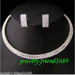 Wedding Wedding/Bridal 2 rows crystal necklace choker earring set Bridal wi real silver mujer fine quality