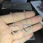 choucong Heart shape Drop earring AAAAA zircon cz 925 Sterling silver Engagement <b>Wedding</b> Dangle Earrings for women <b>jewelry</b>