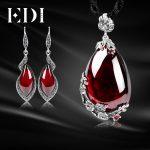 EDI Retro Garnet Pendant Necklace Gemstone Drop Earrings For Women 100% 925 <b>Sterling</b> <b>Silver</b> <b>Jewelry</b> Sets