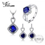 JewelryPalace 6.3ct Cushion Created Blue Sapphire Halo Ring Dangle Earrings Pendant Necklace <b>Jewelry</b> Sets 925 <b>Sterling</b> <b>Silver</b>