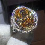 <b>Handmade</b> Flower Style 925 silver ring Big 10ct AAAAA Zircon Cz Engagement wedding band rings for women bridal <b>Jewelry</b>