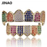 JINAO Hip Hop Teeth Grillz GOLD Color&<b>Silver</b> Plated Micro Pave Rainbow CZ Gold Fang Top&Bottom Colorful Teeth Grills Vampire Set