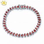 Hutang Stone <b>Jewelry</b> 11.52Ct Natural Garnet Link Bracelet Solid 925 <b>Sterling</b> <b>Silver</b> Women's Real Gemstone Fine <b>Jewelry</b> 7.25″ New