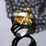 Hot Style! Big Champagne Crystal Faceted Black and golden color Lady Fashion <b>jewelry</b> Gorgeous Unique Design Cocktail party rings