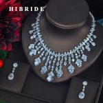 HIBRIDE Clear Big Water Drop Pendant Women <b>Jewelry</b> Sets Bride Full Cubic Zircon <b>Necklace</b> Set Fashion Luxury <b>Jewelry</b> N-618