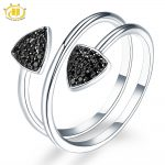 Hutang Gemstone <b>Jewelry</b> Natural Black Spinel Solid 925 Sterling <b>Silver</b> Ring Engagement Fine Fashion Stone <b>Jewelry</b> For Women Gift