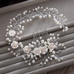 Gorgeous hair comb floral headband women pearl <b>jewelry</b> hairband soft chain hair ornaments bridal tiara wedding accessories yunyu