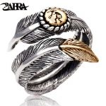 ZABRA 925 Sterling Silver Gold Color Feather Designed for Men Women Lover <b>Wedding</b> Ring Vintage Punk Retro Style Women <b>Jewelry</b>