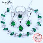 Russian Simple Water Drop Green Cubic Zircon White CZ 925 <b>Silver</b> Stamp Jewelry Sets For Women Pendants/Earrings/Ring/<b>Bracelets</b>