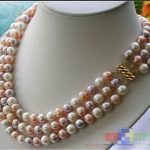 HOT## Wholesale > >>> p1642 3ROW 9MM multicolor ROUND FRESHWATER PEARL <b>necklace</b>