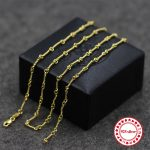 S925 sterling <b>silver</b> <b>necklace</b> bead chain simple personality classic jewelry plated 24k gold couple models send lover's gift