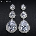 Mecresh Black/Silver Color CZ Bridal Hanging Earrings for Women 2017 Wedding Party Long Drop Brincos Christmas <b>Jewelry</b> EH686