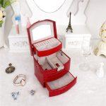 High Grade Crocodile Print <b>Jewelry</b> Display Box 3 Layers Ring Necklace <b>Jewelry</b> Case Lady Gift Home Storage <b>Supplies</b>