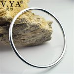 V.YA 3.8mm Thick Solid 925 Sterling <b>Silver</b> Bangle for Women Classic Round Bangle & <b>Bracelet</b> Luxury Jewelry