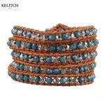KELITCH <b>Jewelry</b> 1Pcs Leather Wrap Crystal Stone Beaded Bracelets Multilayers Mujer <b>Jewelry</b> <b>Handmade</b> Friendship Bracelet Top Pack
