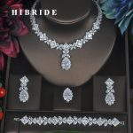 HIBRIDE Clear Crystal Cubic Zirconia <b>Jewelry</b> Sets For Women Bridal Wedding Sets 4 pcs Earring Necklace Ring Bracelet Gift N-315