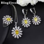 BlingZircons Women <b>Fashion</b> Sterling Silver 925 <b>Jewelry</b> Sets Lovely Yellow And White CZ Crystal Daisy Flower Necklace Set JS003