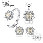 JewelryPalace 2.55ct Natural Lemon Quartz Halo Ring Stud Earrings Pendant Neckalce Chain 45cm 925 <b>Sterling</b> <b>Silver</b> <b>Jewelry</b> Sets