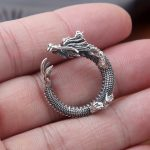 S925 wholesale sterling silver <b>jewelry</b> <b>handmade</b> Vintage Silver Dragon domineering personality personality ring opening