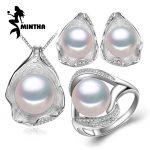 MINTHA Freshwater Pearl Jewelry ,925 Sterling <b>Silver</b> Jewelry Sets for Women bohemia Pearl Jewelry Set ,Shell pendant design