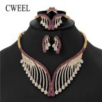 CWEEL Fashion Woman Earrings 2018 African Beads <b>Jewelry</b> Set Imitation Crystal <b>Necklace</b> Set For Ladies Wedding Jewellery