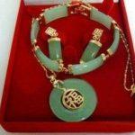 Free shipping GP Green bracelet lucky earrings Pendant <b>necklace</b> <b>jewelry</b> Set AAA 5.23