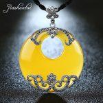 JIASHUNTAI Retro 925 <b>Silver</b> <b>Sterling</b> Yellow Stone Big Round Pendant Necklace <b>Silver</b> <b>Jewelry</b> For Women