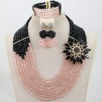 Unique Black and Peach Bridesmaid Gift Crystal Jewlery Sets 8 Layers Party Engagement Women <b>Jewelry</b> Set Free Shipping WD157