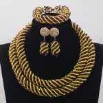 Fashion African <b>Jewelry</b> Sets Purple/Yellow Bridal Beads Crystal Rope Chain Necklace Earrings Set <b>Handmade</b> Free ShippingABH141