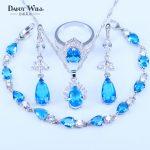 Trendy Water Drop Sky Blue Cubic Zirconia White CZ 925 <b>Silver</b> Stamp Jewelry Sets Women Earrings/Pendant/Necklace/<b>Bracelet</b>/Ring