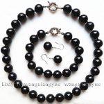 Women's Wedding 12mm Natural Black Rich stone Necklace bracelet Earrings Set >AAA GP Bridal wide wa moda real silver-<b>jewelry</b>
