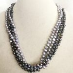 """43cm 17"""" Women <b>Jewelry</b> 4 strands necklace 7mm gray black colors baroque flat pearl <b>handmade</b> Real cultured freshwater pearl gift"""
