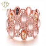 Rhinestone <b>Jewelry</b> Beautiful Rose Gold Color Hollow Shaped with Multi Stones Charm Bangle&Bracelet for Women Party <b>Wedding</b>