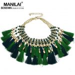 MANILAI New <b>Fashion</b> Bohemian Cotton Multicolor Tassel Necklaces Resin Beads Charms Statement Choker Necklaces For Woman <b>Jewelry</b>