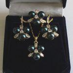 real silver-<b>jewelry</b> Women's Wedding 8mm Black South Sea Shell Pearl Earrings Ring & Necklace Pendant Jewel Set>AAA Brida brinco
