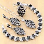 Cute 925 Sterling <b>Silver</b> Jewelry Black Zircon White CZ Jewelry Sets For Women Party Earrings/Pendant/Necklace/Rings/<b>Bracelet</b>