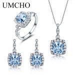 UMCHO 925 <b>Sterling</b> <b>Silver</b> <b>Jewelry</b> Set Nano Sky Blue Topaz Ring Pendant Stud Earrings For Women Party Fine <b>Jewelry</b> Top Quality