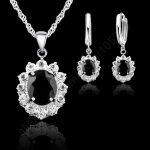Vogue Princess Wedding Engagement Necklace <b>Earring</b> Jewelry Sets 925 Sterling <b>Silver</b> Oval Black Crystal Good Quality