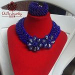 Big Design Costume Jewelry Set Fashion Royal Blue Crystal Nigerian Beads Necklace Set Dubai <b>Silver</b> Flowers Jewelry Sets 2017 NEW