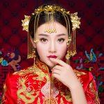 Vintage Chinese <b>Wedding</b> Hair <b>Jewelry</b> Brides Adorn Hair Accessories Queen Hairpins Gold Color Coronet Hairwear Headband Earrings