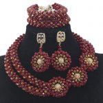 Splendid Wine Red African Beads <b>Jewelry</b> Set Nigerian Wedding Statement <b>Necklace</b> Beads Pendant <b>Necklace</b> Beads <b>Jewelry</b> Set QW031