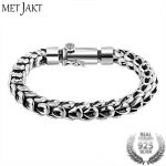 MetJakt Gothic Real 925 Sterling <b>Silver</b> Dragonscale <b>Bracelet</b> Men High Polished Vintage Punk Rock <b>Bracelets</b> Jewelry for Mens 20cm