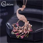 CoLife <b>Jewelry</b> luxurious peacock pendant natural tourmaline necklace pendant solid 925 <b>silver</b> gemstones pendant romantic gift