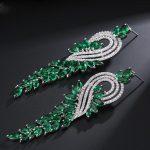 Luxury Elegent Evening Dinner Part <b>Wedding</b> <b>Jewelry</b> Luxury Long CZ Crystal Big Drop Dangle Earrings For Brides CZ2009