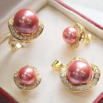real Women's Wedding New Pink shell Pearl <b>Jewelry</b> Necklace Earring Ring Wholesale Set + chain silver-<b>jewelry</b>