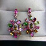 Natural Multicolor tourmaline personality Sunflower drop <b>earrings</b> 925 <b>silver</b> natural gemstone <b>earrings</b> women party fine jewelry